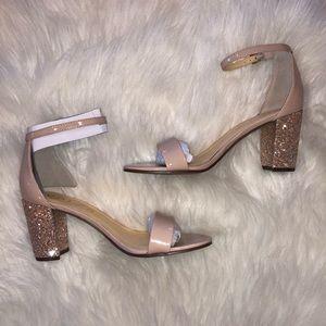 NIB pinky nude glitter block heels
